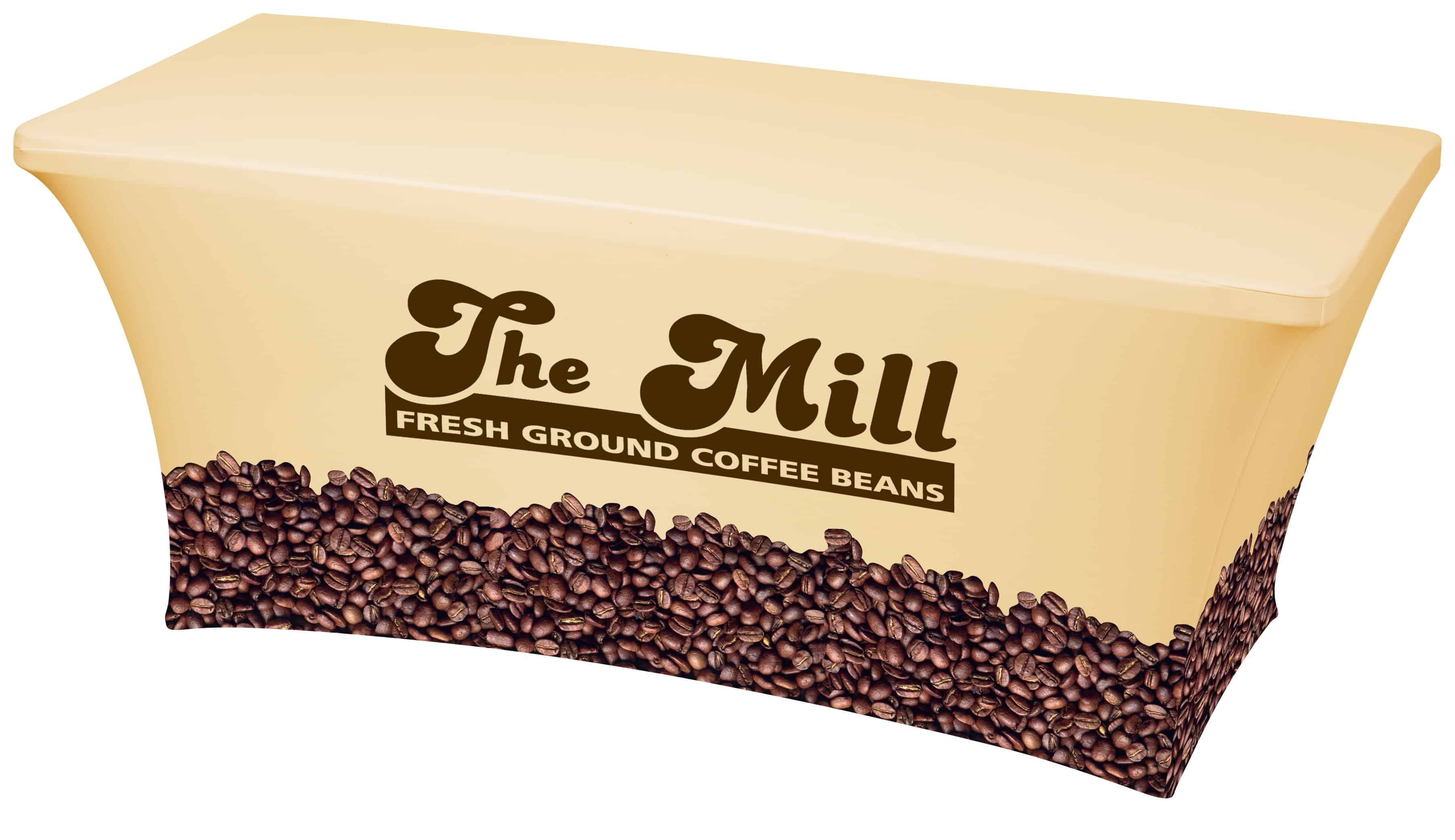 A Hemmed UltraFit Table Cover featuring coffee beans.