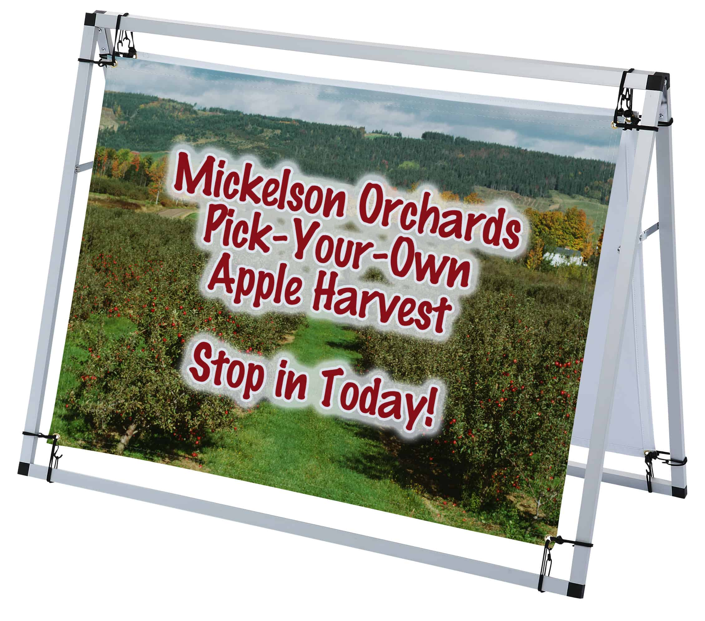 A-Frame Pro Outdoor Banner Sign featuring an orchard.