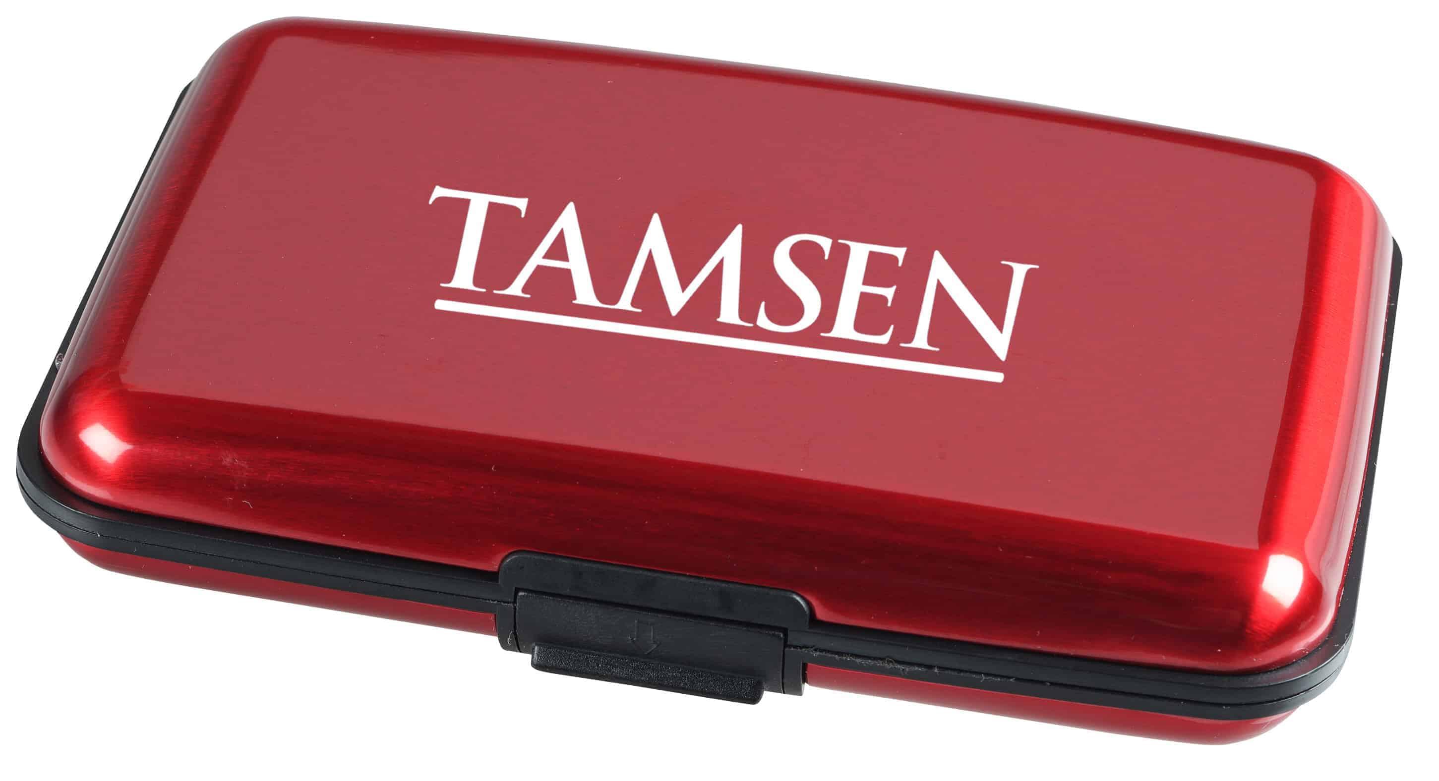 A red Aluminum Card Case.