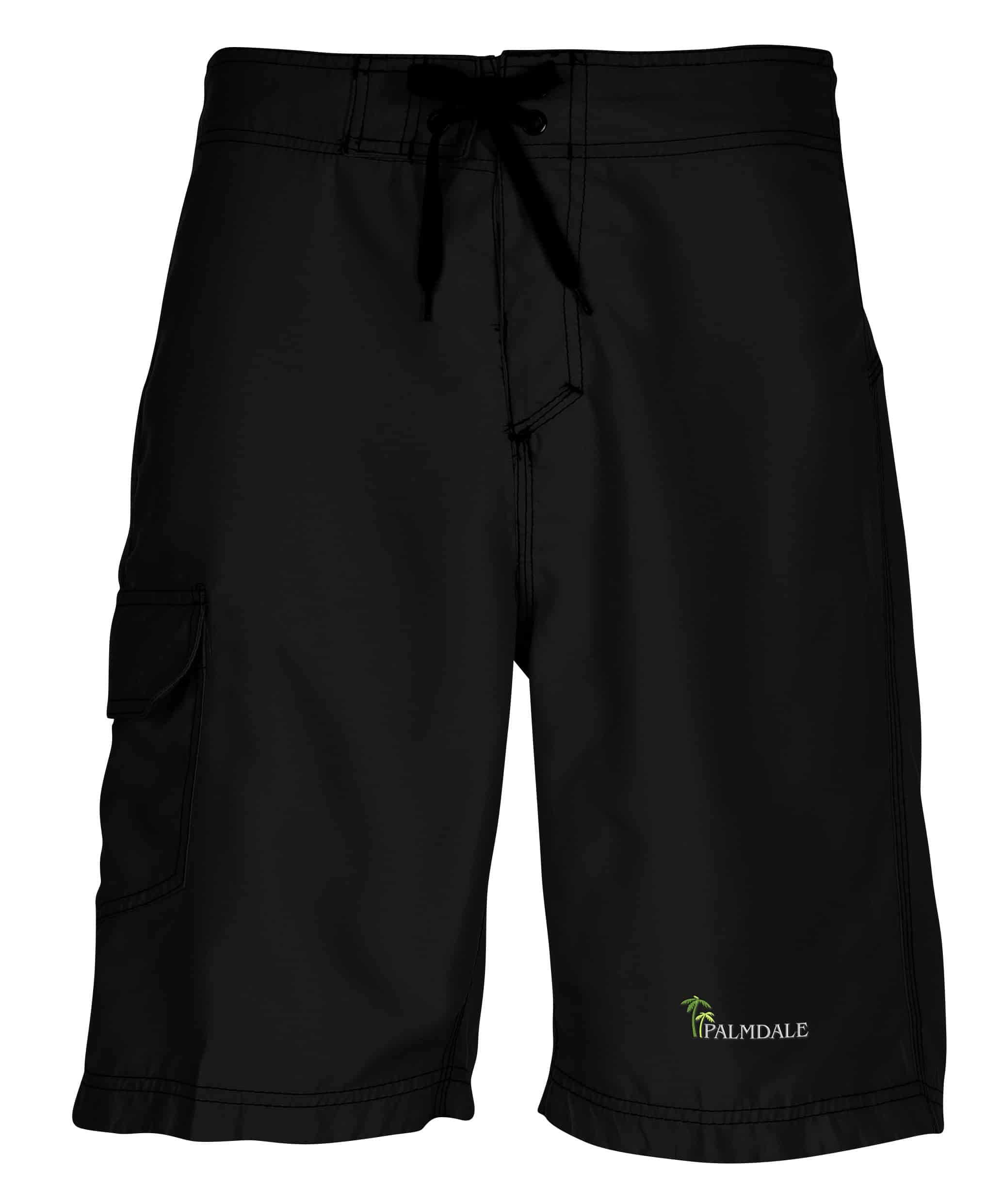 A pair of black Burnside Solid Board Shorts.