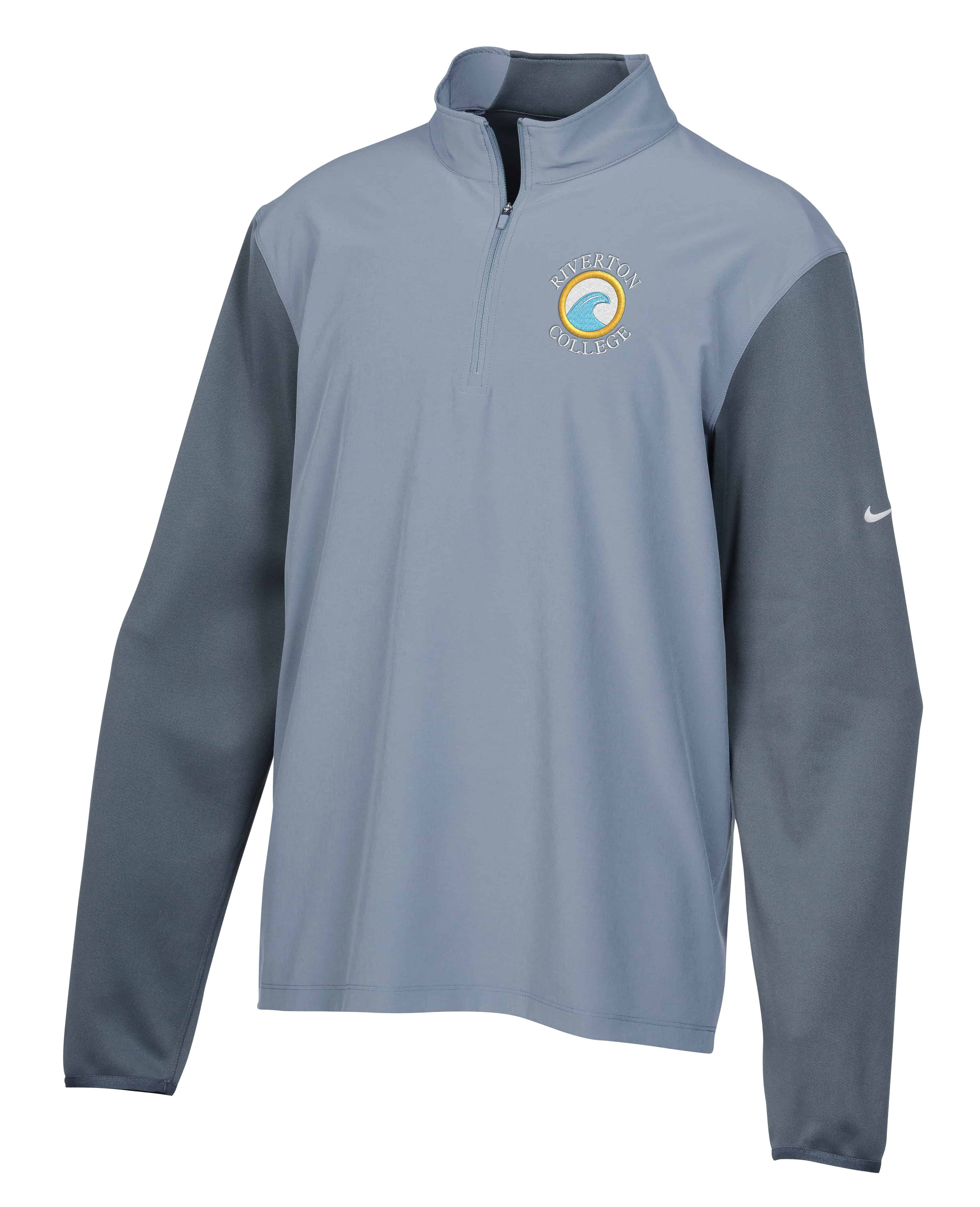 A gray Nike Performance Hybrid 1/2-Zip Pullover.