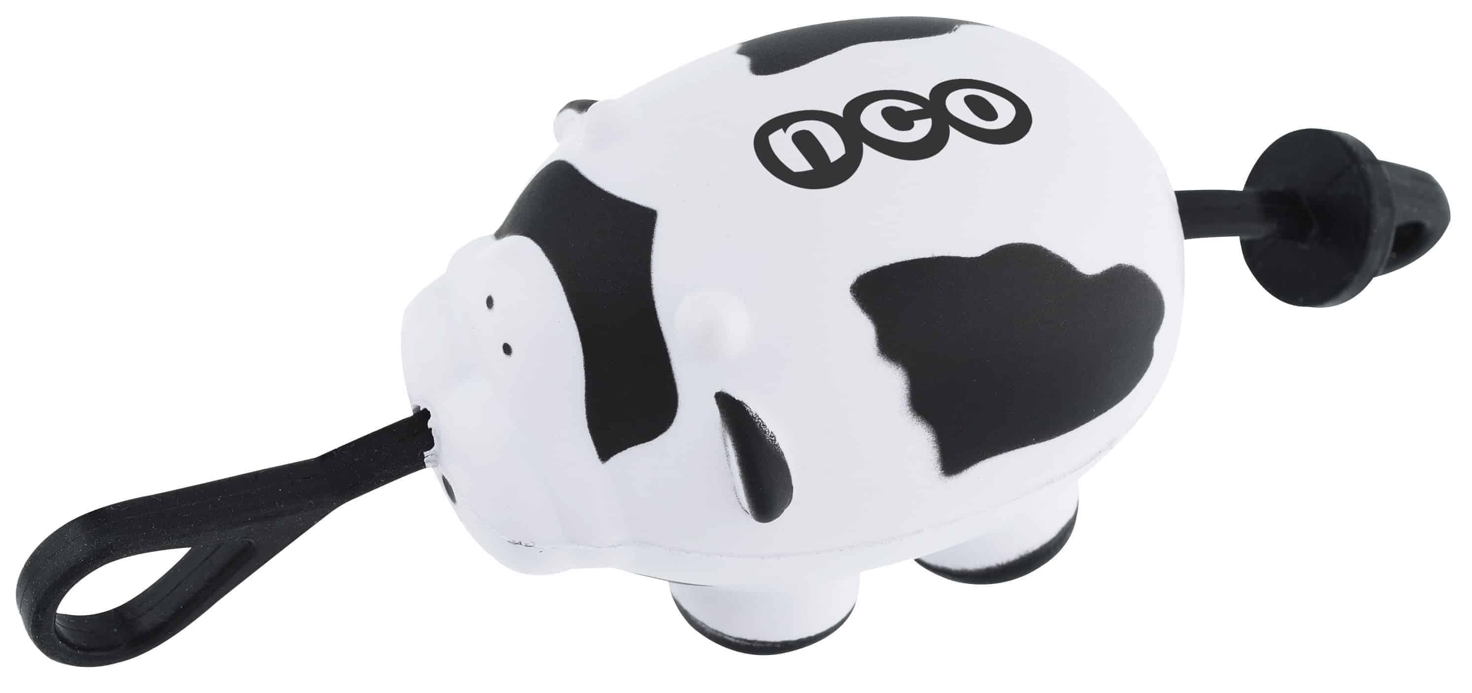 A black and white Slingshot Foam Cow.