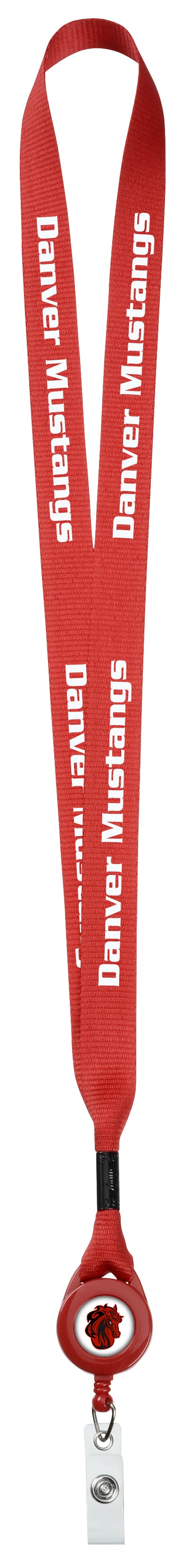 A red Retractable Polyester Lanyard with white text.