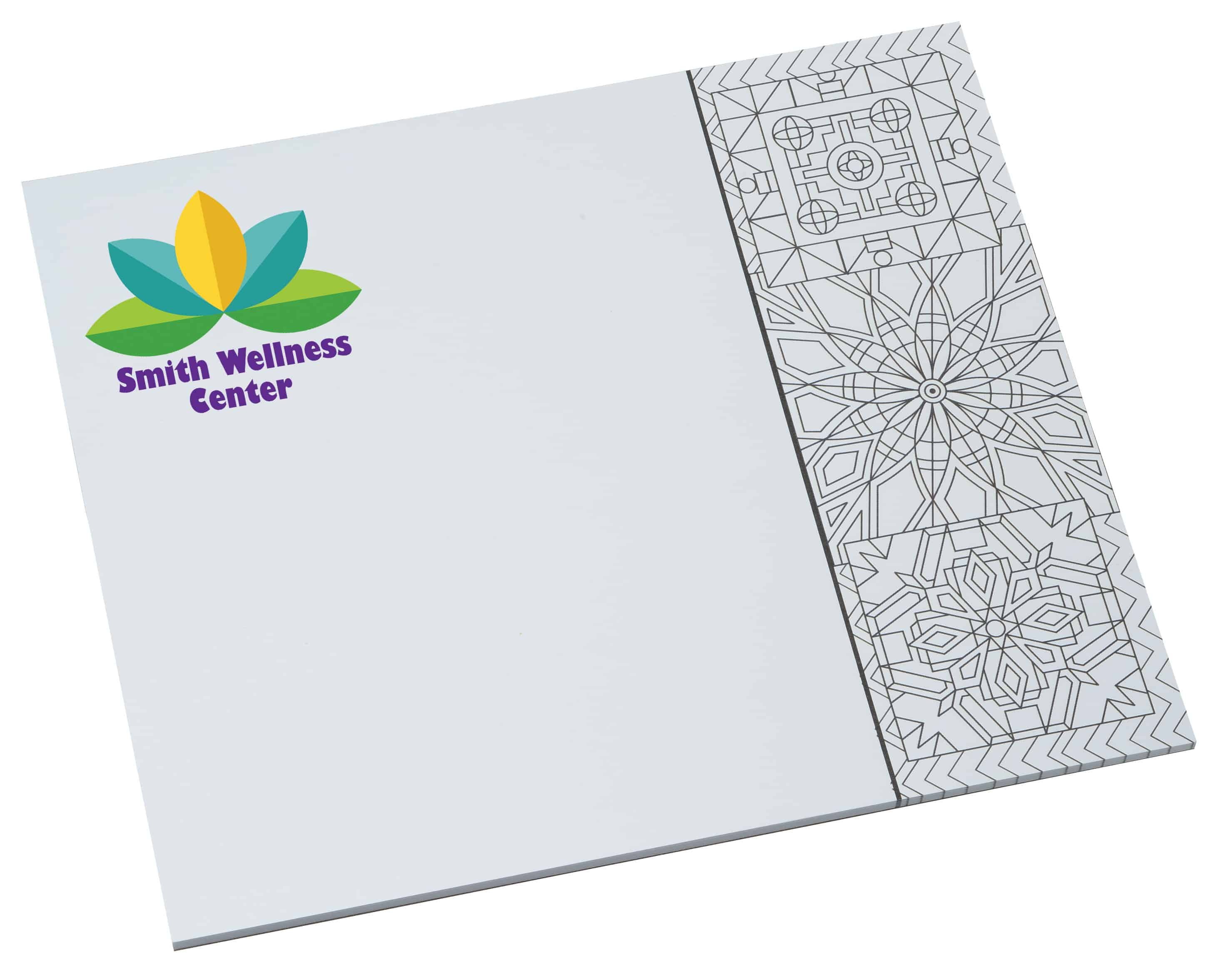 A Bic Color-In Paper Mouse Pad with geometric patterns.