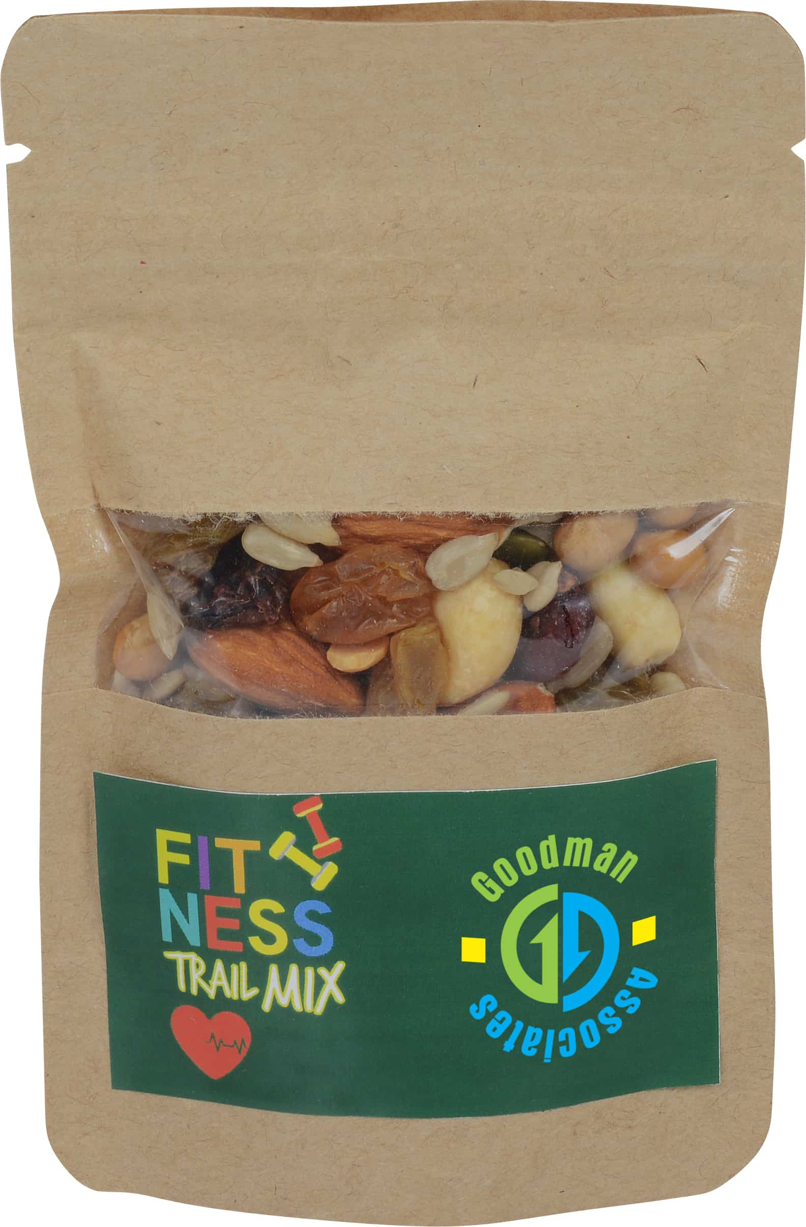 A brown bag of trail mix.