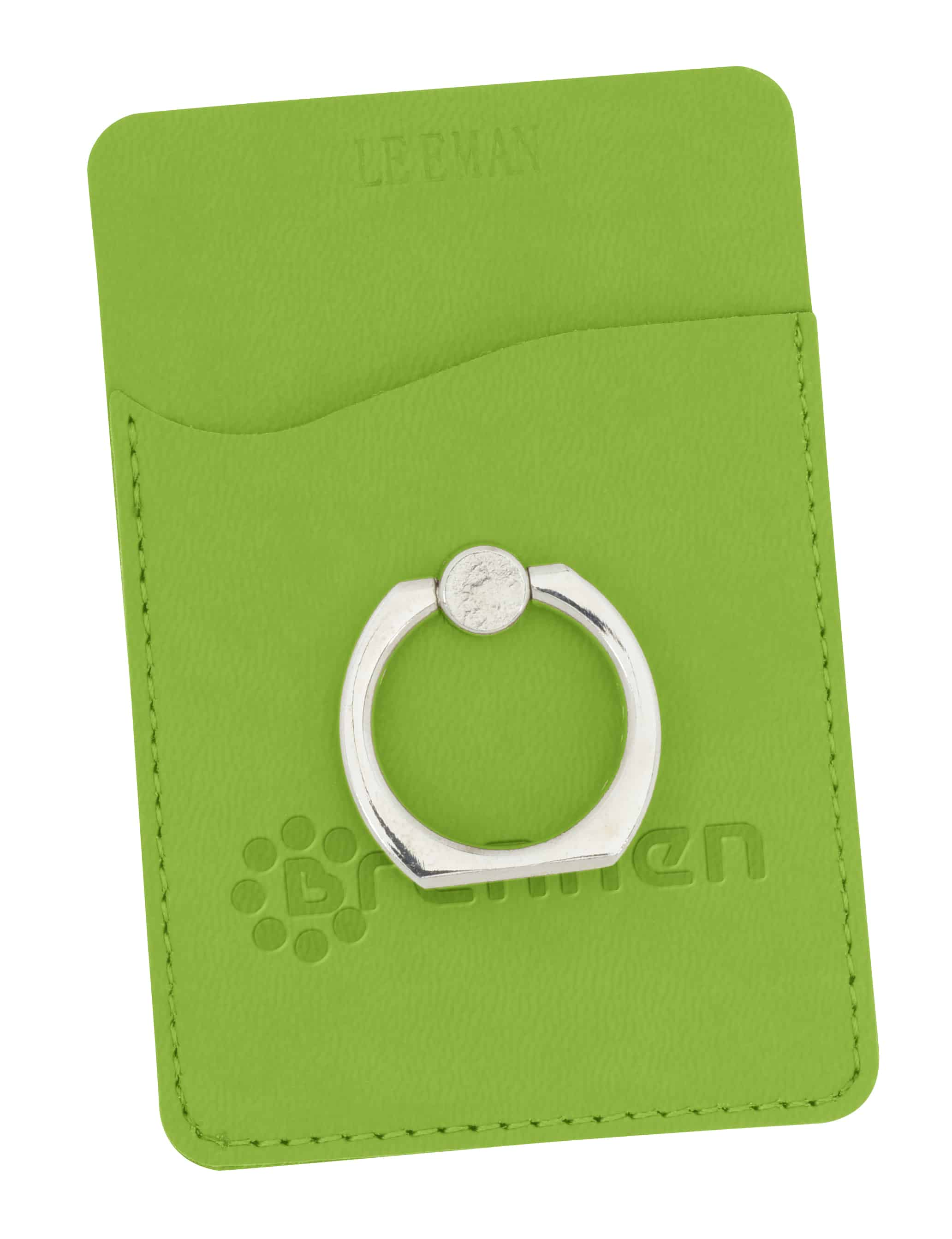 A green Tuscany Smartphone Wallet with Ring Phone Stand.