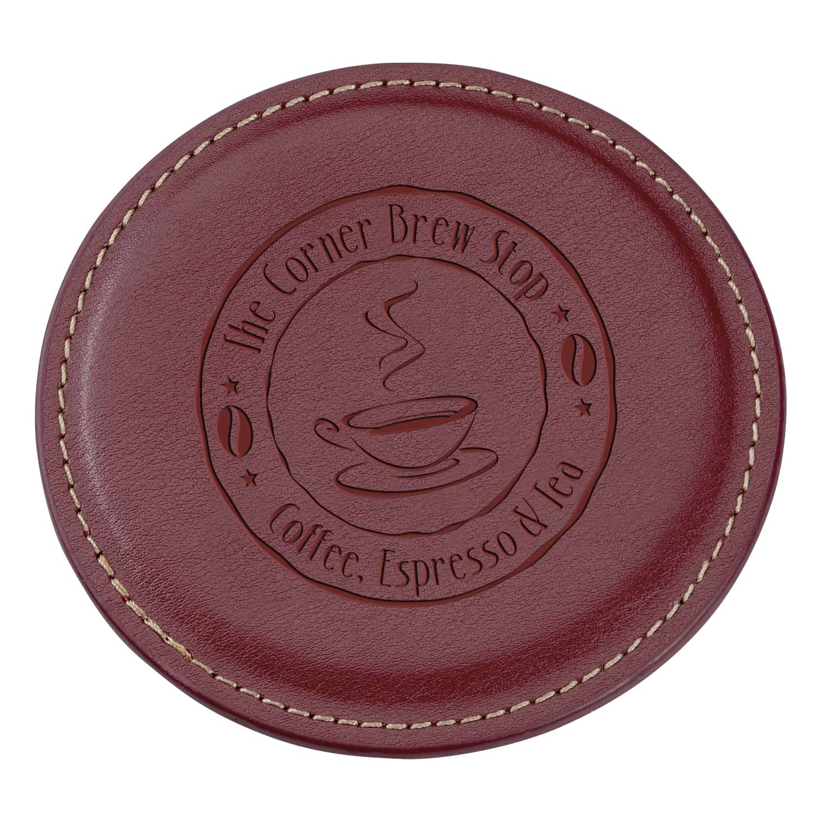A Vintage Round Bonded Leather Coaster.