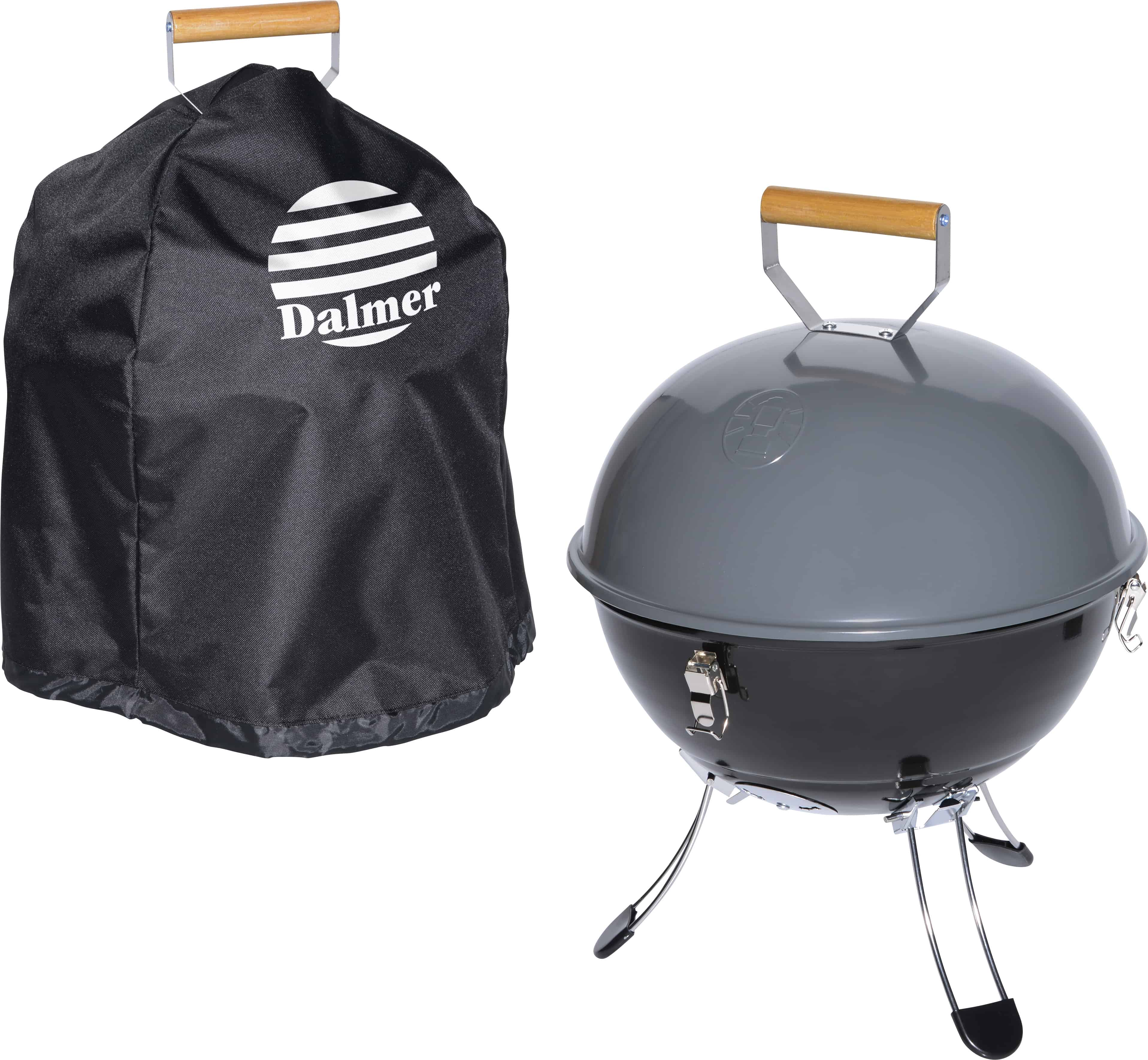 A Coleman Party Ball Charcoal Grill with Cover.