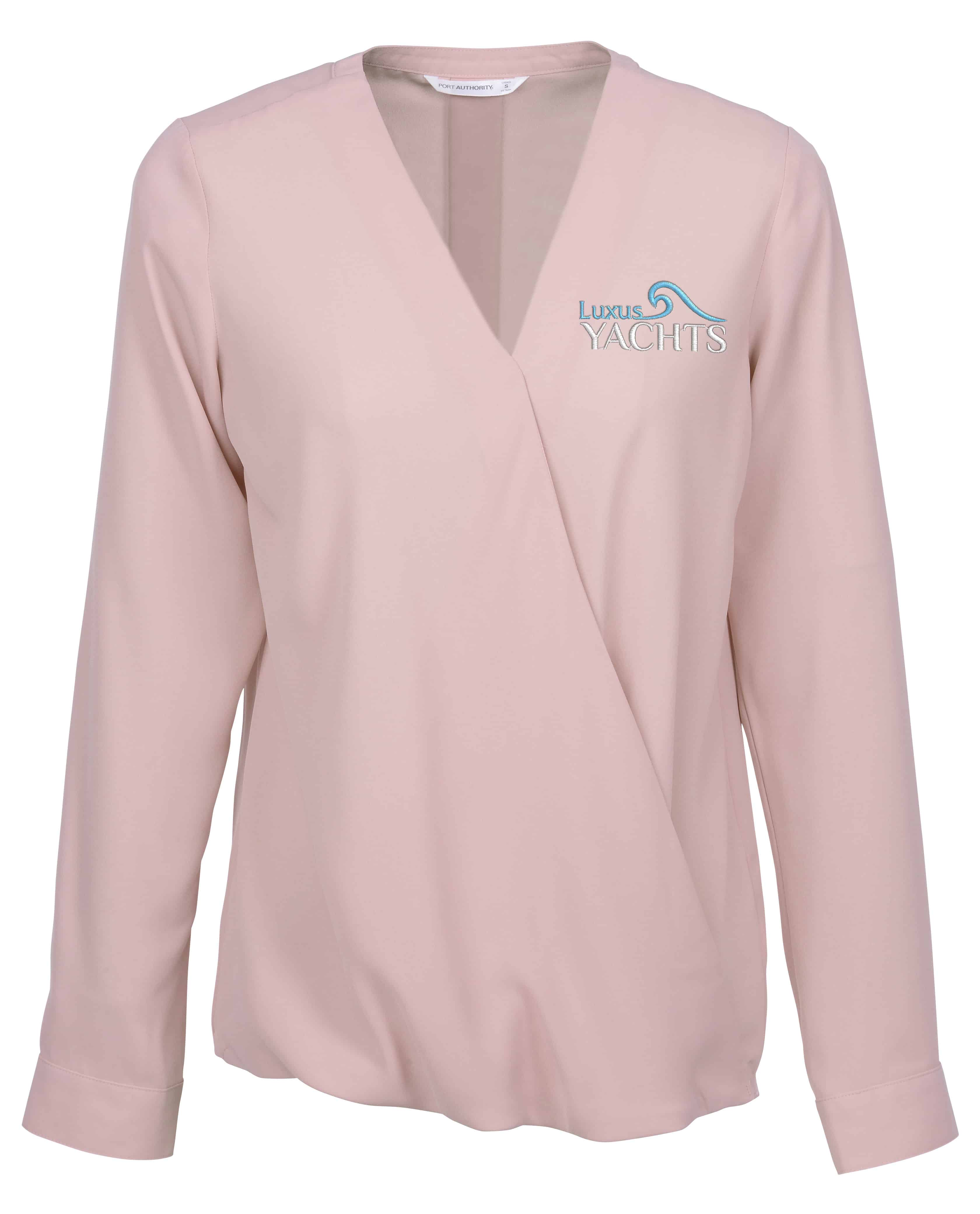 A Poly Crepe Crossover Blouse for women.