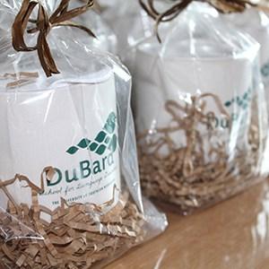 Cork Bottom Ceramic Mugs in bags.