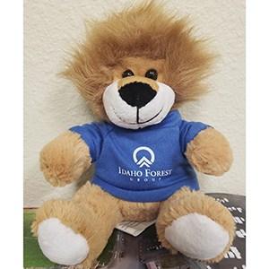 A Furry Fella Lion in a blue shirt.