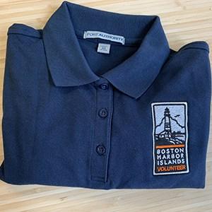 Blue branded folded polo shirt