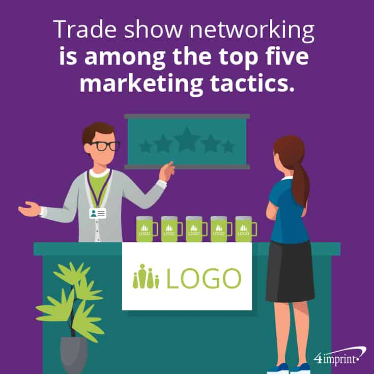 Trade show networking is among the top 5 marketing tactics. | The top trade show giveaways.