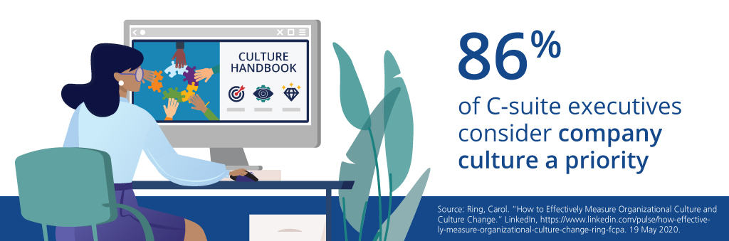 Executive woman viewing culture handbook on desktop computer