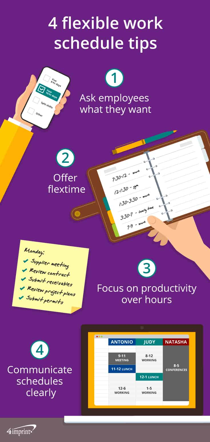 Infographic showing 4 tips for success with flexible scheduling