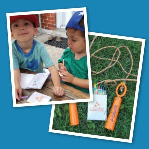 Photo of two children with coloring books and crayons and photo of a jump rope.