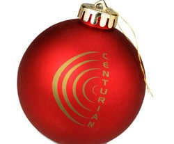"""4imprint 3 1/4"""" Round Shatterproof Holiday Ornament in Red, Item No. 4316"""