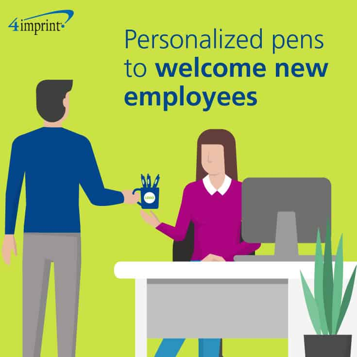 Personalized pens make a nice gift to welcome new employees.