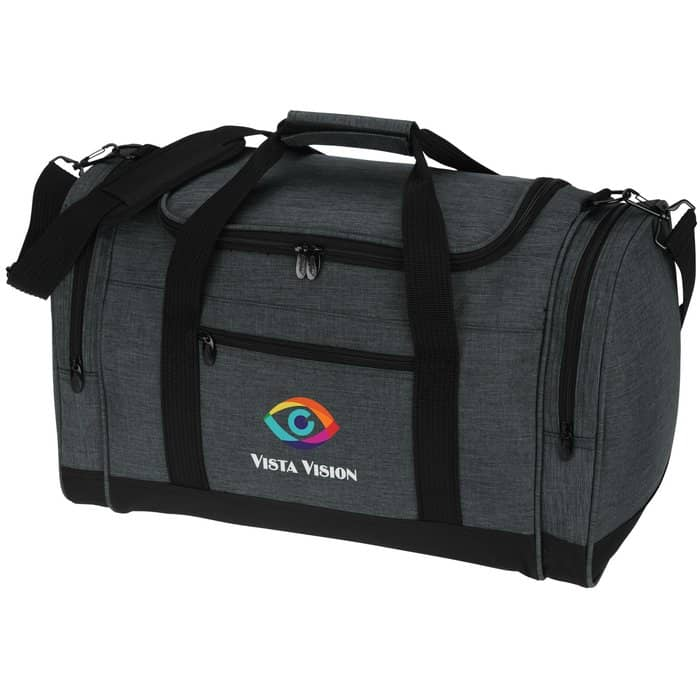4imprint Heathered Leisure Duffel is made with heather fabric.