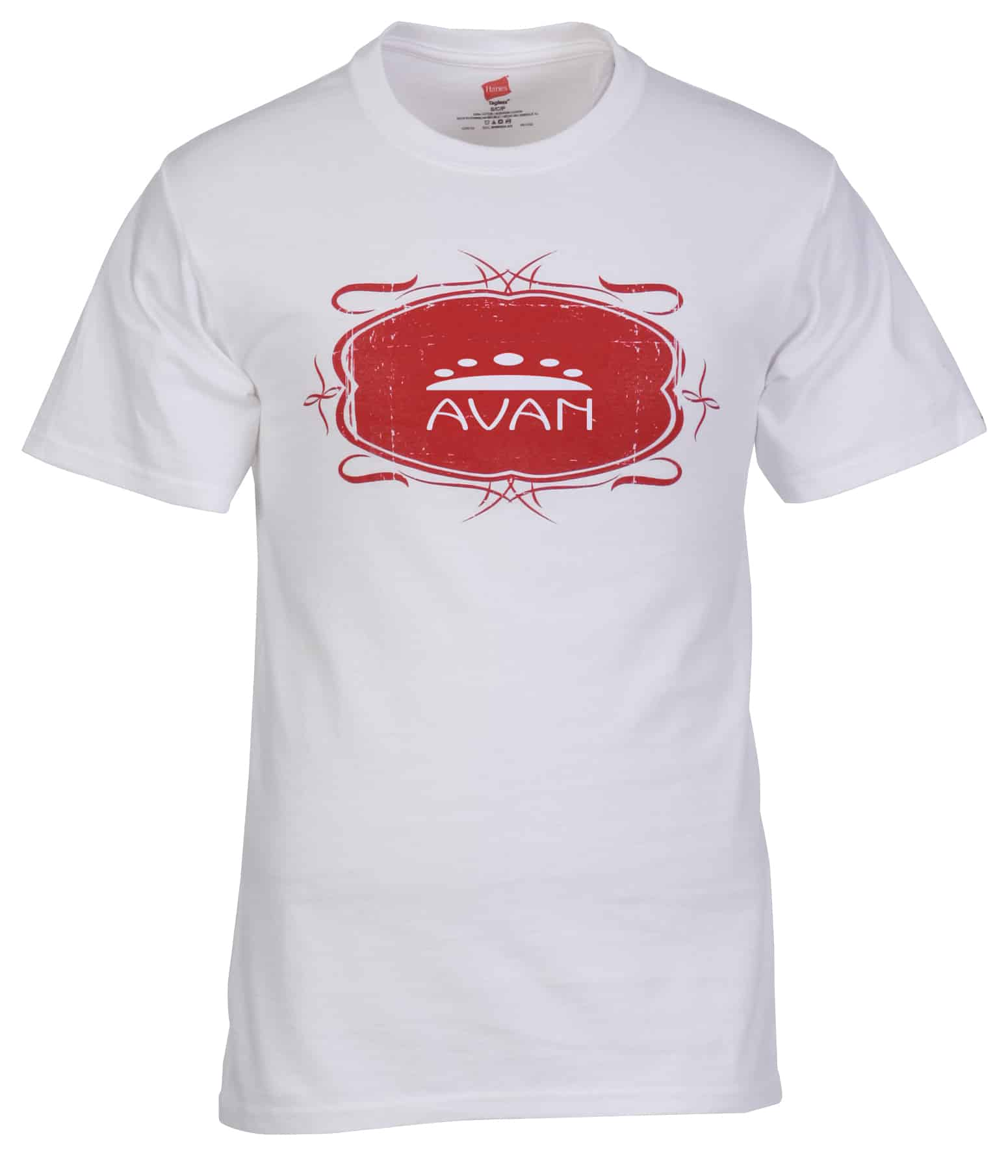 A white Hanes Authentic T-Shirt with Vintage Design.