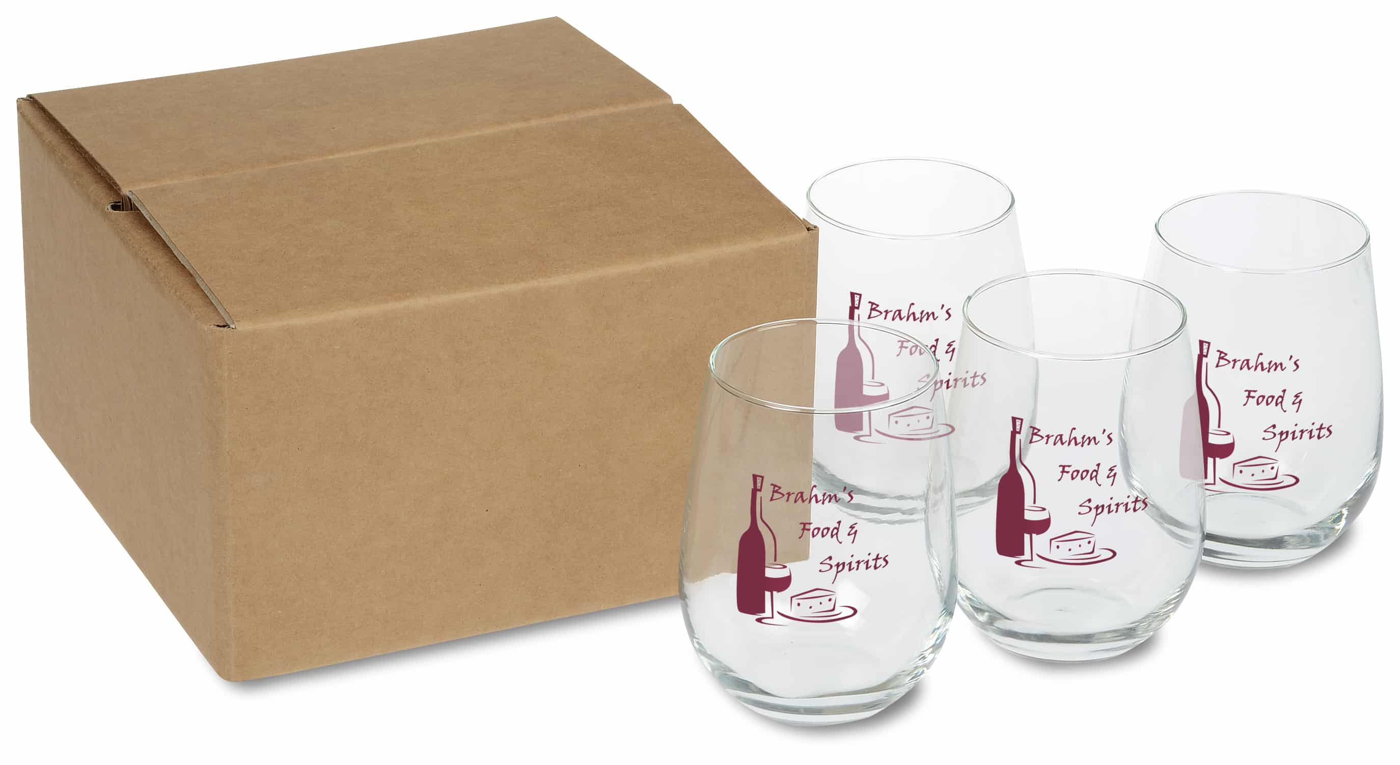 A Stemless White Wine Glass Set with box.