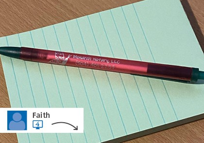 Social post of a promotional pen on a notepad.