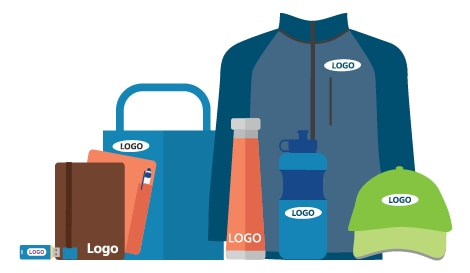 lots of promotional products with logos on them