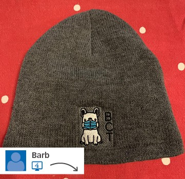 A website post of a branded beanie from Barb