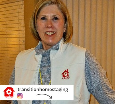 An Instagram post from transitionhomestaging of a woman in a branded vest