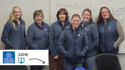 A website post from Jane of women wearing branded jackets