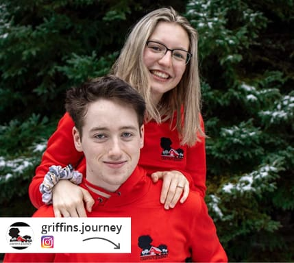 An Instagram post from griffins.journey of two people in branded outerwear