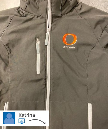 A website post from Katrina of a branded jacket