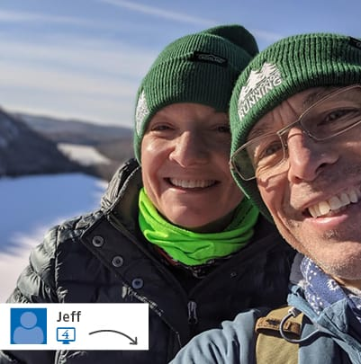 A website post from Jeff with two people in branded beanies