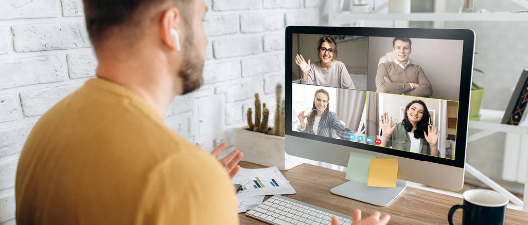 A person looking at this screen where an online meeting is happening