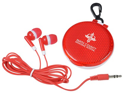 red ear buds with branded reflective carrying case