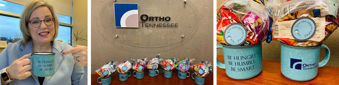 three pictures of OrthoTennessee branded mugs filled with snacks