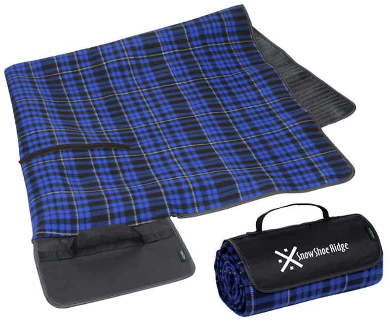blue branded picnic blanket