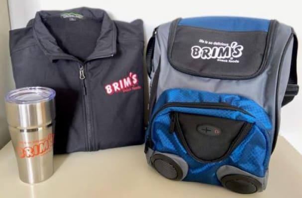 branded jacket, speaker/cooler and travel tumbler