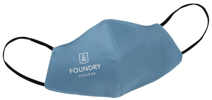 face mask with Foundry College log printed on it