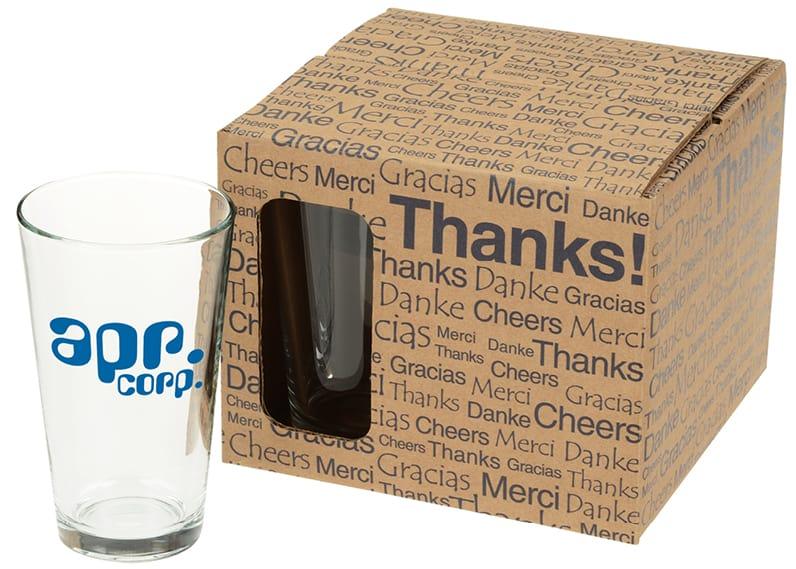 box of 3 logoed pint glasses