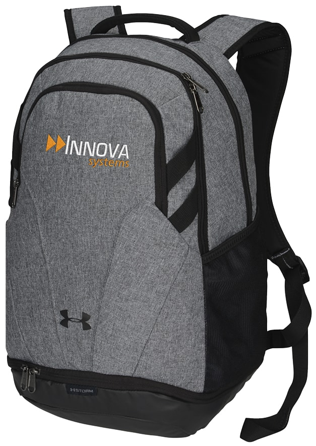 backpack with company logo embroidered on it