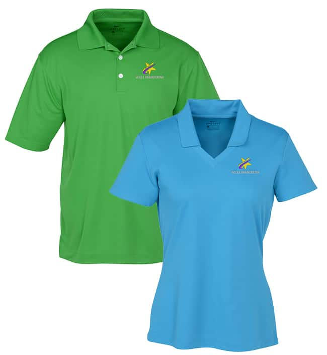 Men and women's imprinted moisture-wicking polo shirts