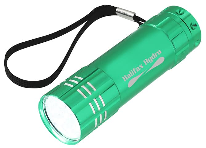 Small branded flashlight with wristlet