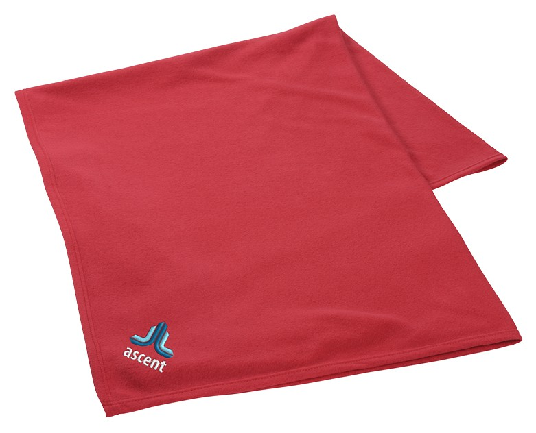 blanket with logo on it