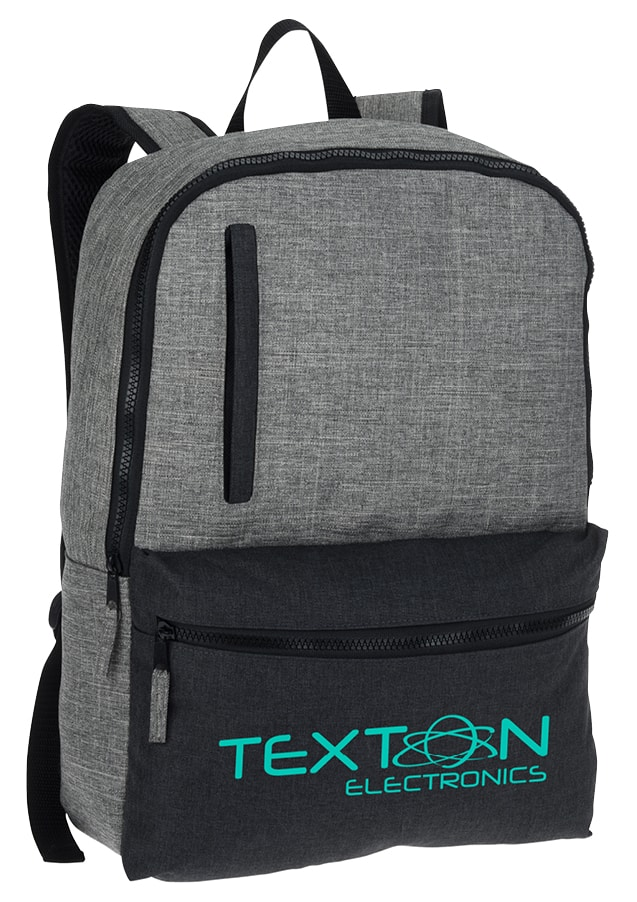 backpack with company logo on it