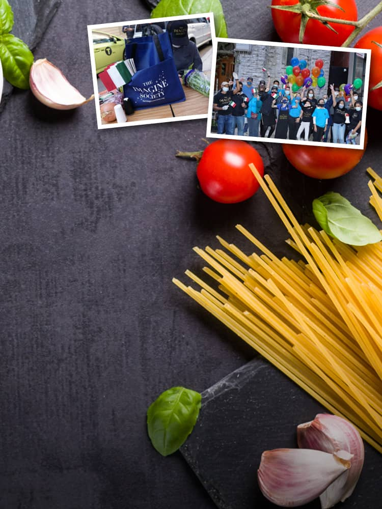 italian food ingredients on table with pictures of branded tote and group of volunteers