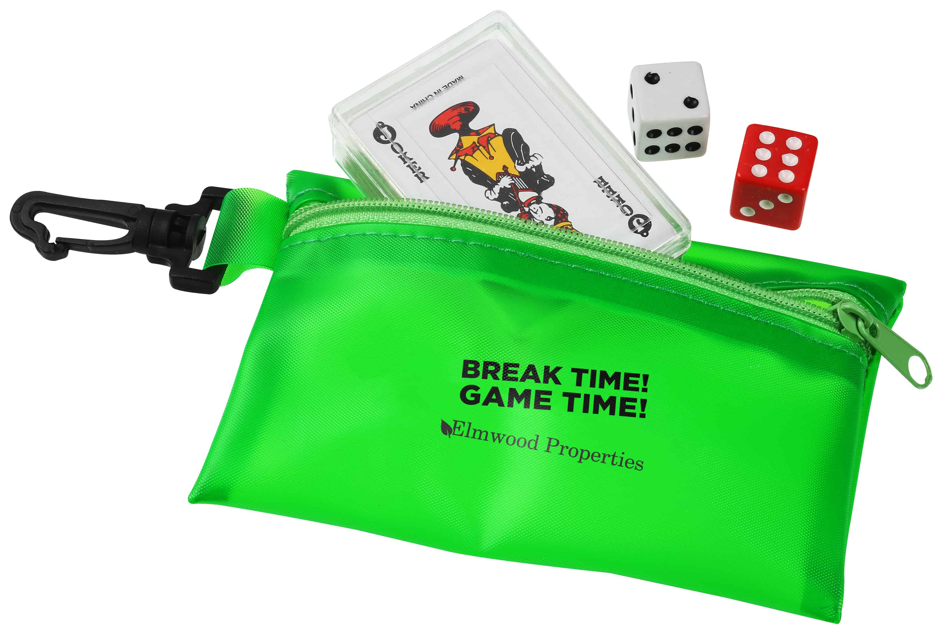 Traveler Cards & Dice with a green pouch.