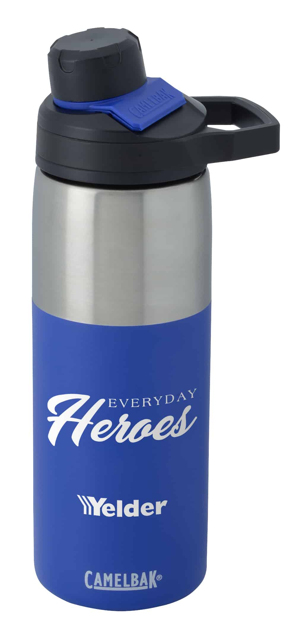A blue and silver CamelBak Chute Mag Stainless Vacuum Bottle.