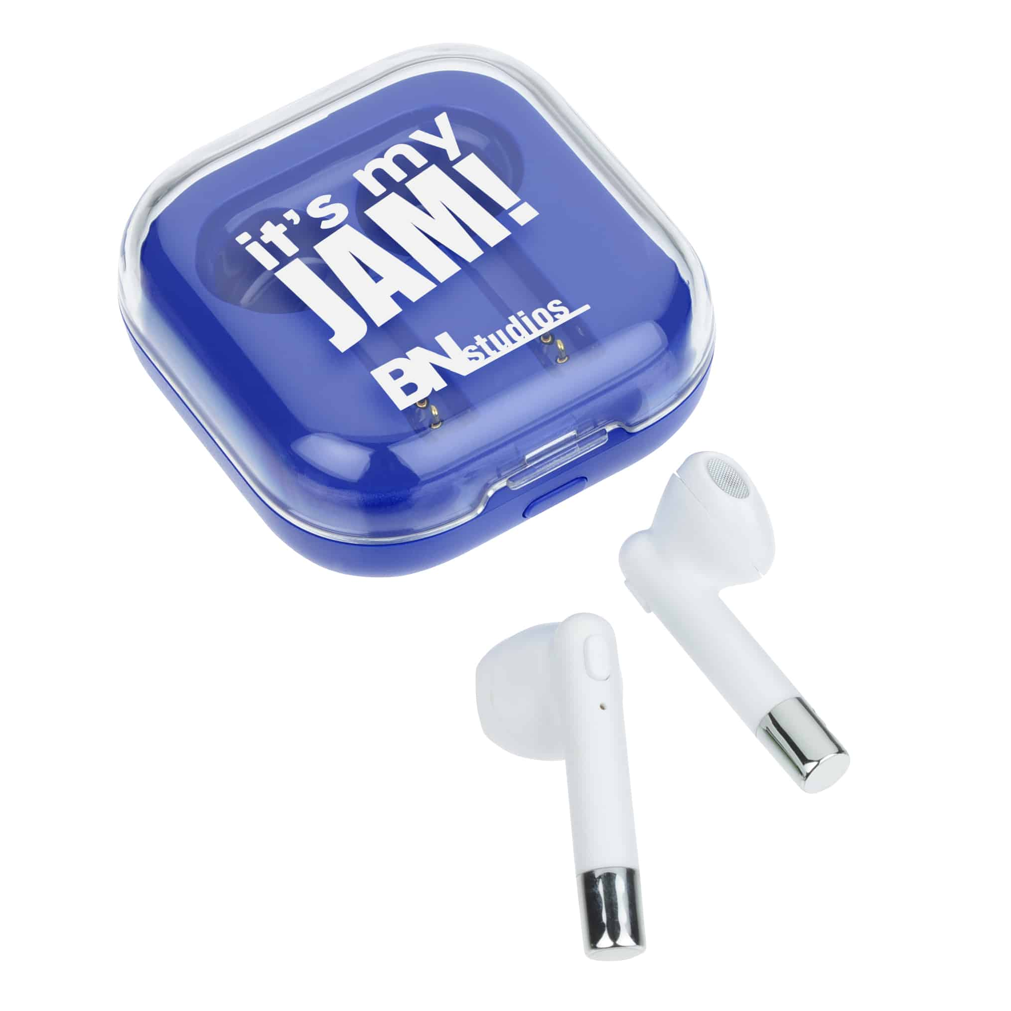 A pair of Melody True Wireless Ear Buds with Charging Case.