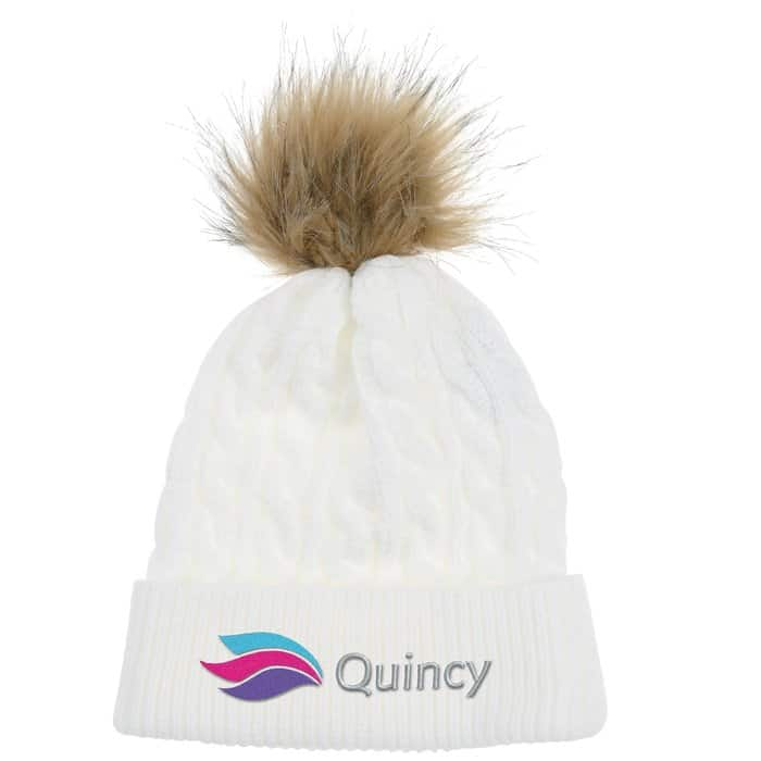 Cable_Knit_Beanie_with_Faux_Fur_Pom-Pom – a great custom winter hat with pom.